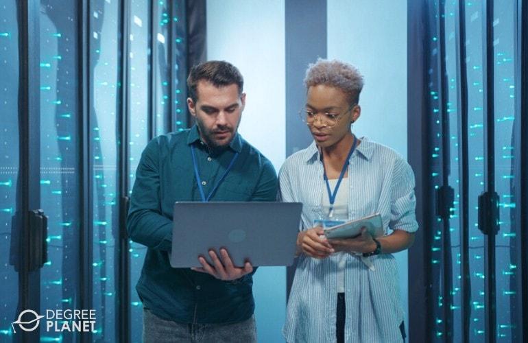 Database Administrators checking the data room
