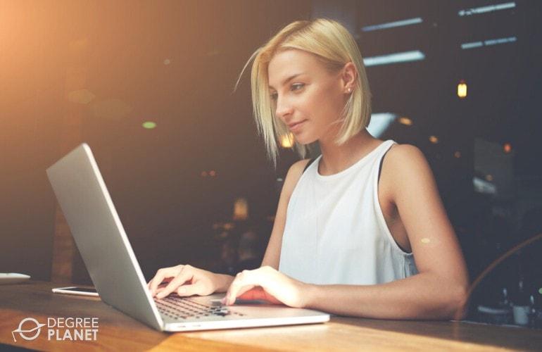 Writer working on her laptop