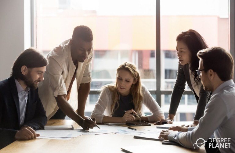 Management Analysts collaborating during a meeting