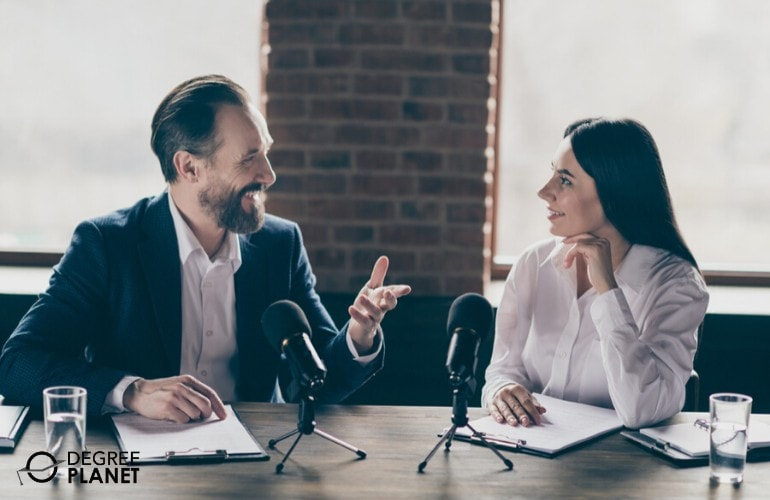 Public Relations Specialist interviewing a client
