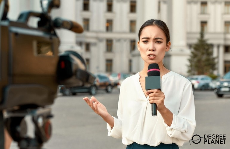 Reporter delivering news