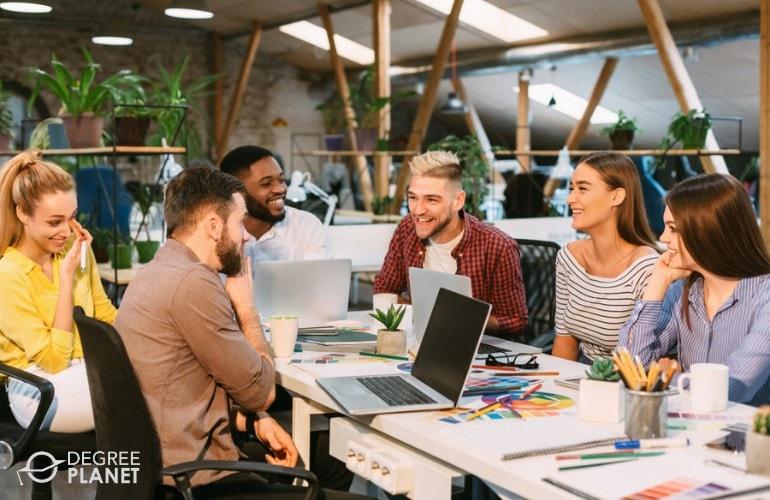 Advertising team sharing their ideas in a meeting