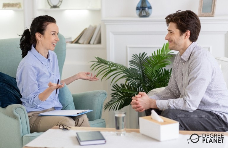 Mental Health Counselor having a therapy session with a client