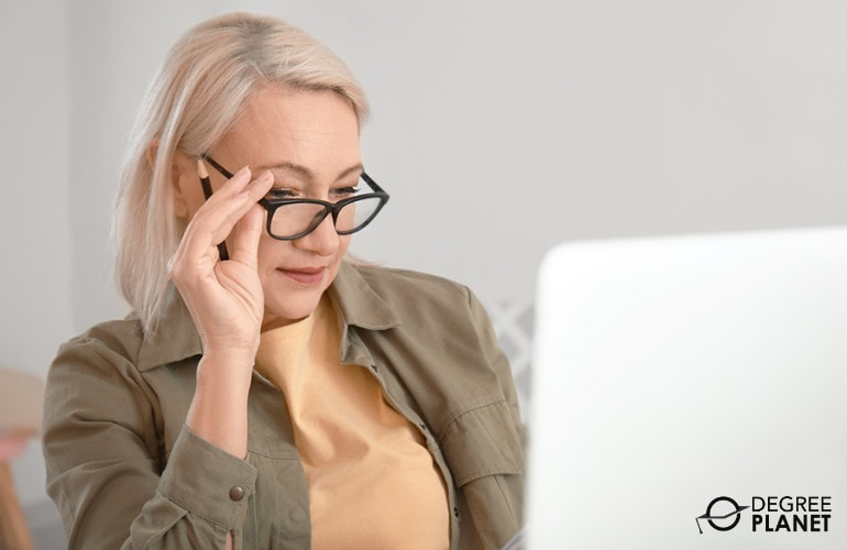 Adult college student studying online