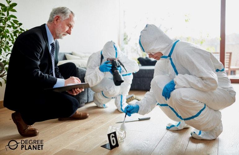 Police Detective examining the crime scene