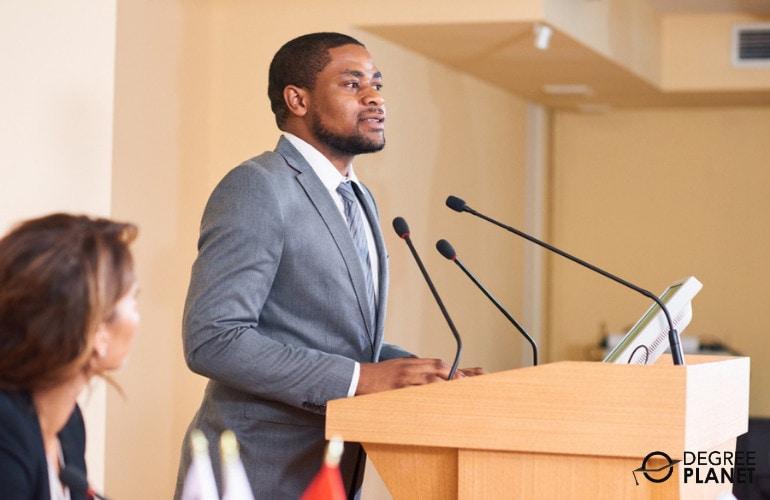 Political Scientist giving a speech