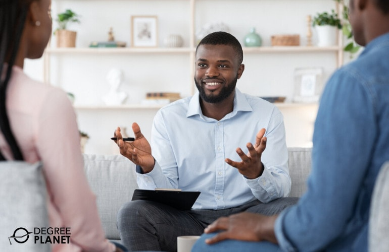 Psychologist with clients during consultation