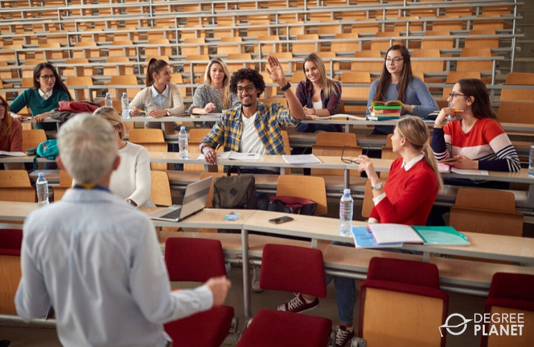 associates degree students attending class in university