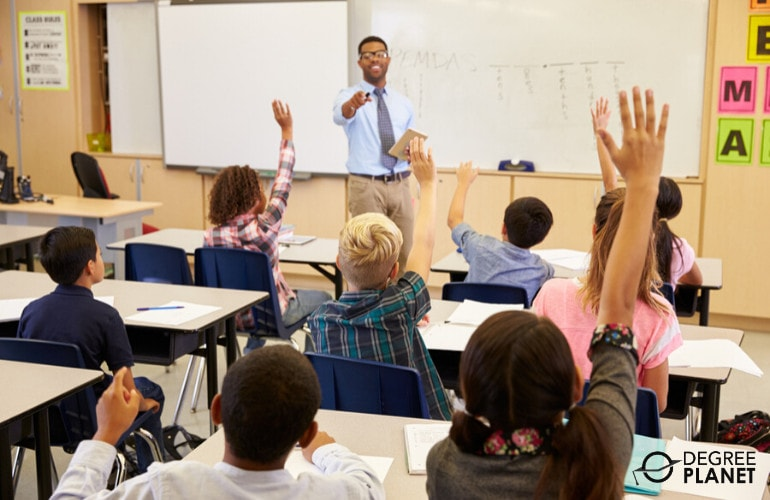 Elementary teacher teaching in a classroom