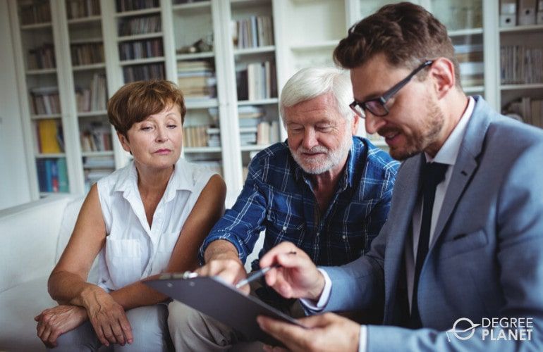 Financial Advisor with a senior couple