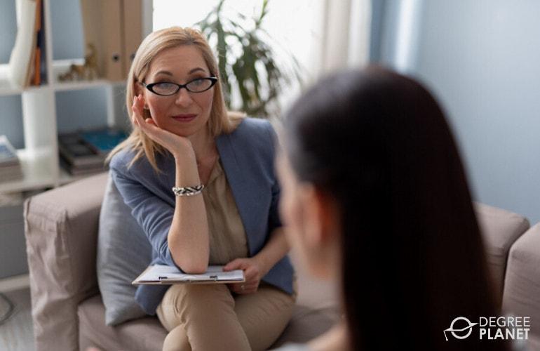 Psychologist with a patient