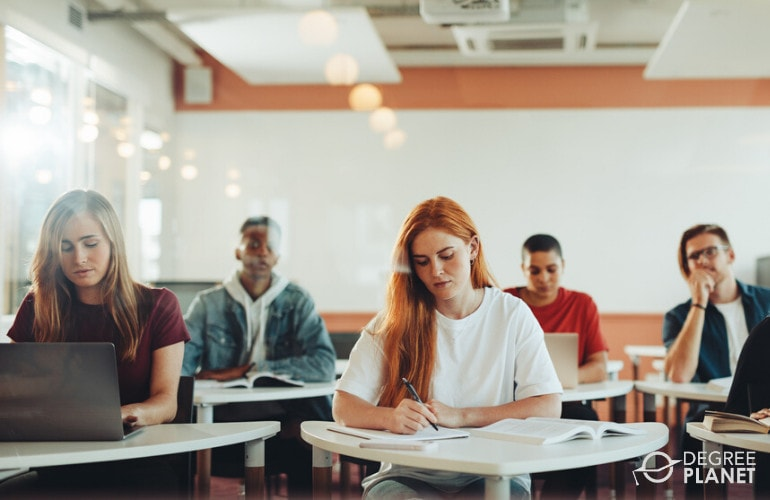 Psychology Degree students in a university