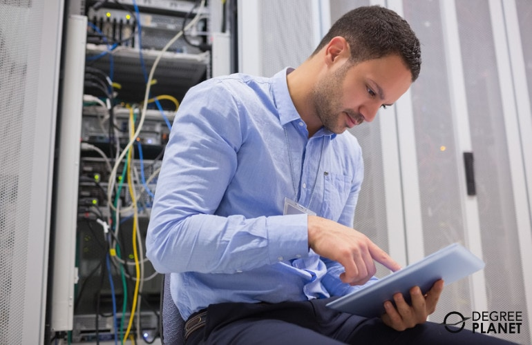 IT technician working in data center