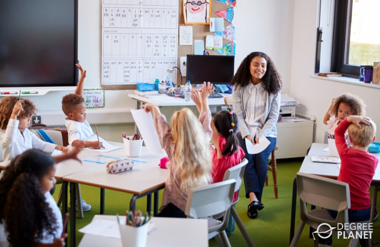 Pre-school Teacher teaching students