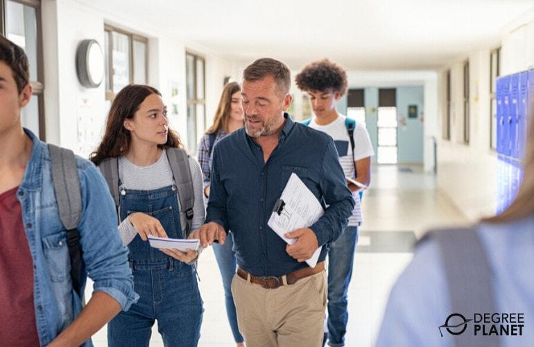 High School teacher with students in hallway