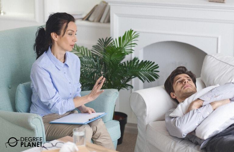 Psychologist comforting a patient