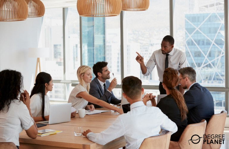 General and Operations Managers in a meeting