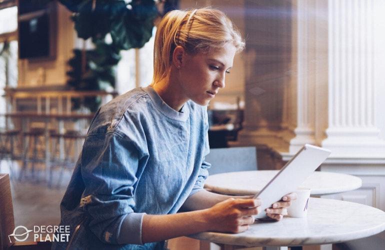 graduate school student studying online