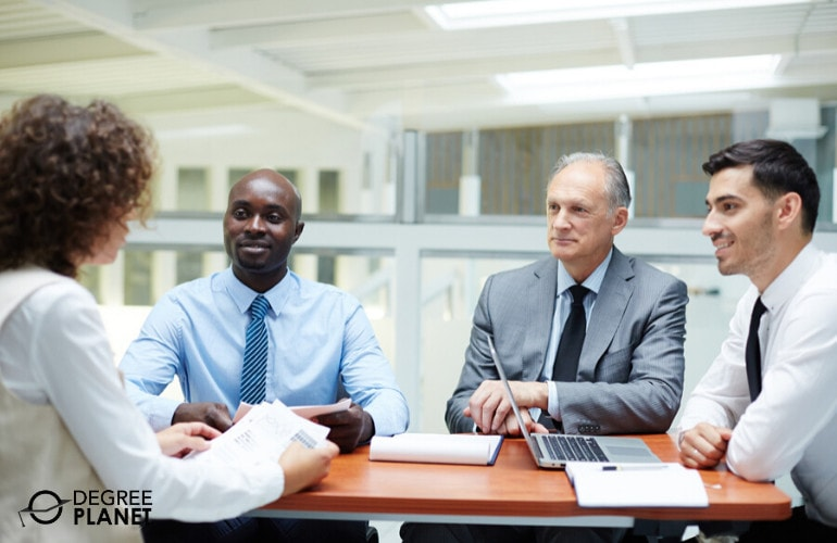 Public Relations and Fundraising Managers in a meeting