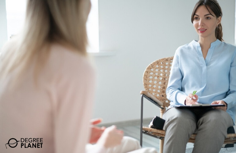 Psychologist with a patient in her office