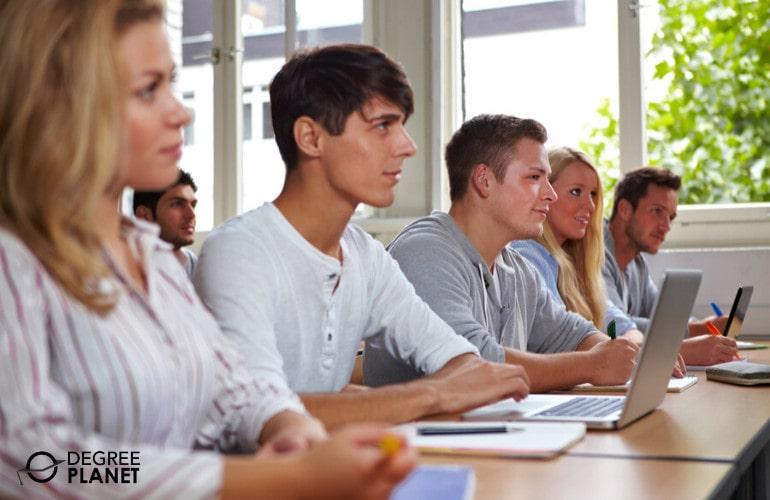 Psychology students in university