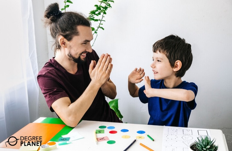 school counselor with a child