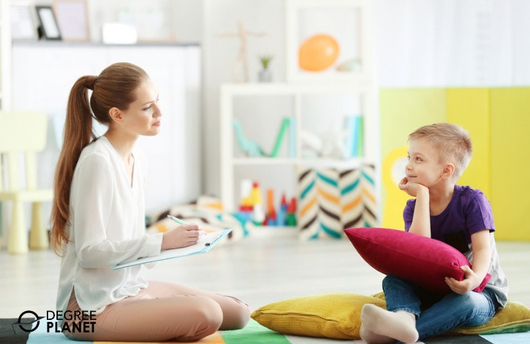 counselor with a child